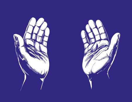 Mani in preghiera, simbolo del cristianesimo schizzo disegnato a mano illustrazione vettoriale