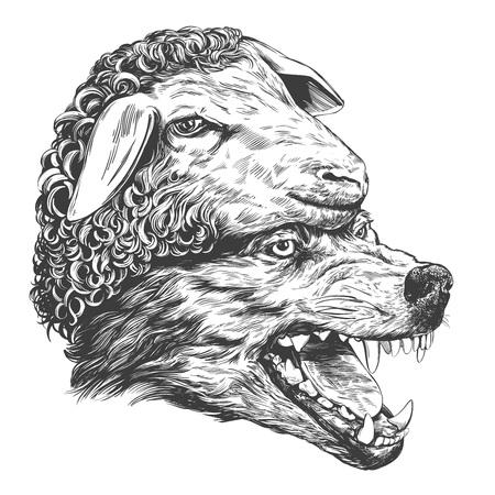 Loup en vêtements de mouton, parabole chrétienne, croquis réaliste d'illustration vectorielle dessinés à la main Vecteurs