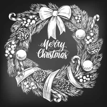 christmas wreath Calligraphy lettering text symbol of Christianity hand drawn vector illustration sketch, drawn in chalk on a black board