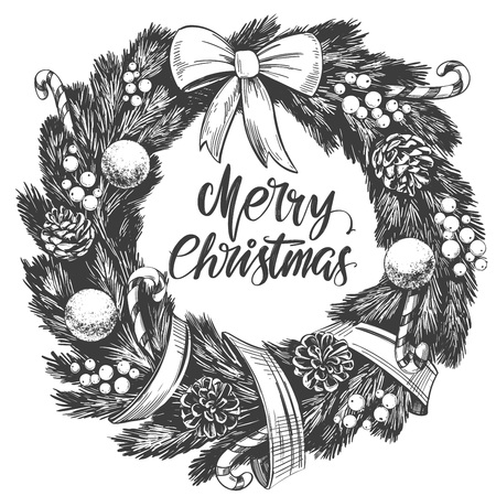 christmas wreath Calligraphy lettering text symbol of Christianity hand drawn vector illustration sketch
