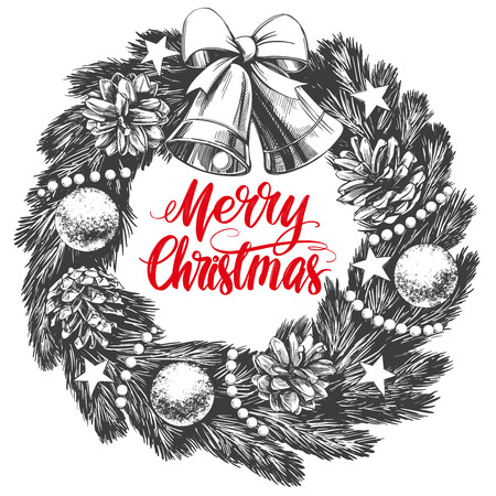 christmas wreath Calligraphy lettering text symbol of Christianity hand drawn vector illustration sketch Stock Vector - 109467592