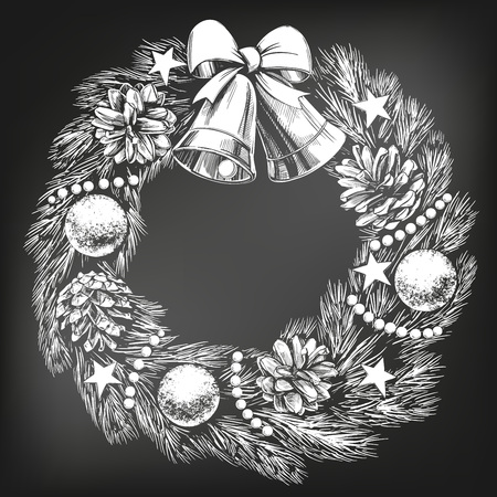 christmas wreath symbol of Christianity hand drawn vector illustration sketch, drawn in chalk on a black board