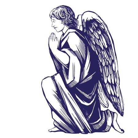 Ange prie à genoux symbole religieux du christianisme croquis d'illustration vectorielle dessinés à la main