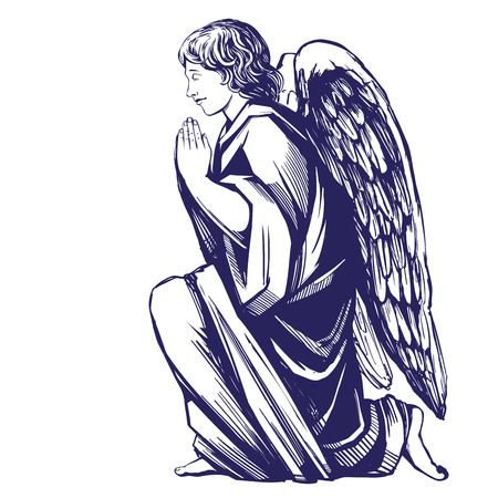 angel prays on his knees religious symbol of Christianity hand drawn vector illustration sketch