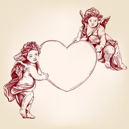 Engel oder Amor, kleines Baby hält ein Herz, Valentinstag, Liebe, Grußkarte handgezeichnete Vektorillustration realistische Skizze.