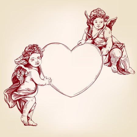 engelen of cupido, kleine baby houdt een hart, Valentijnsdag, liefde, wenskaart hand getekende vector illustratie realistische schets.