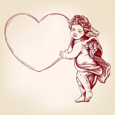 angel or cupid, little baby holds a heart, Valentines day, love, greeting card hand drawn vector illustration realistic sketch. Иллюстрация