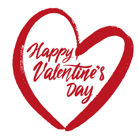 happy Valentines day text on the background of the heart on white background. , Valentine s day, greeting card hand drawn vector illustration sketch. Calligraphy lettering. Иллюстрация