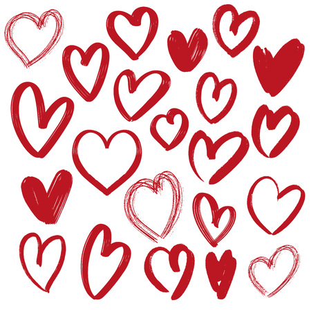 hearts collection , hand drawn vector illustration sketch isolated on white background.
