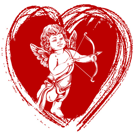 angel , little baby. Cupid shoots a bow with an arrow, Valentine s day, greeting card hand drawn vector illustration realistic sketch.
