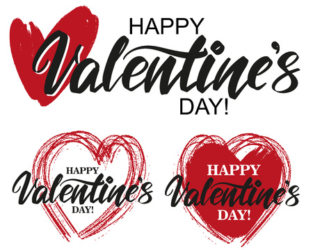 happy Valentine s day text on the background of the heart on white background. , Valentine s day, greeting card hand drawn vector illustration sketch. Calligraphy lettering.