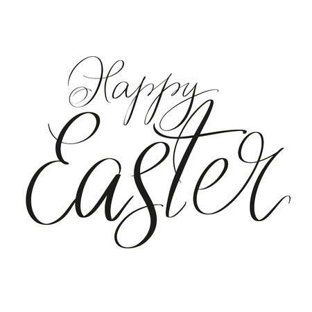 Happy Easter holiday religious calligraphic text symbol of Christianity hand drawn vector illustration sketch