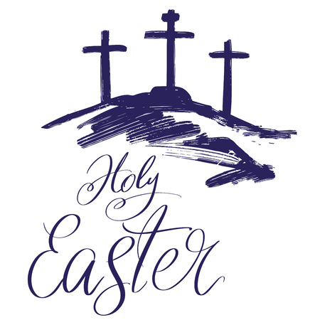 Holy Easter holiday religious calligraphic text , cross symbol of Christianity hand drawn vector illustration sketch
