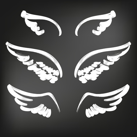 Angel wings icon sketch collection, abstract wings sketch set icon collection cartoonhand drawn vector illustration sketch, drawn in chalk on a black Board