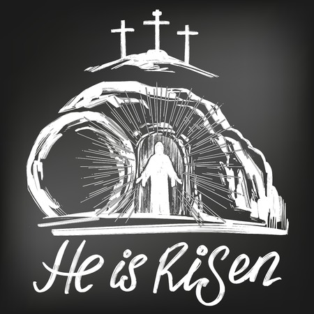 Easter Jesus Christ rose from the dead. Sunday morning. Dawn. The empty tomb in the background of the crucifixion. symbol of Christianity vector illustration, drawn in chalk on a black Board