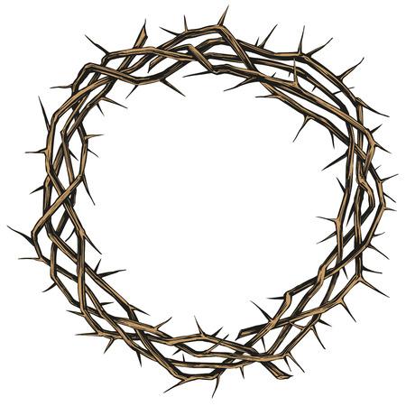 Corona de espinas, símbolo religioso de Pascua del cristianismo boceto de ilustración de vector dibujado a mano