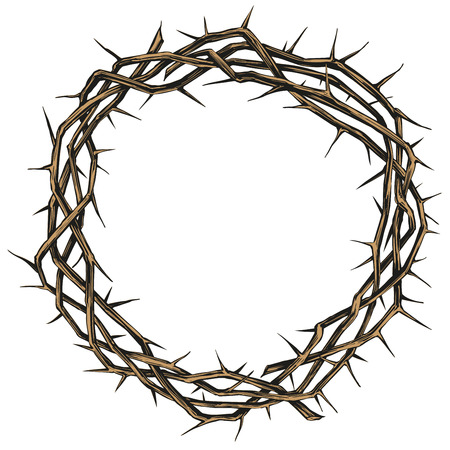 crown of thorns, easter religious symbol of Christianity hand drawn vector illustration sketch