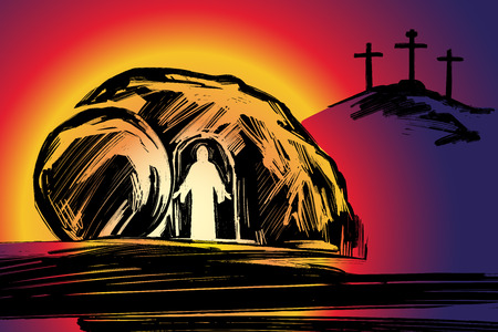 Easter Jesus Christ rose from the dead. Sunday morning. Dawn. The empty tomb in the background of the crucifixion. symbol of Christianity vector illustration 일러스트