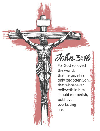 Jesus Christ, the Son of God, crucified on a wooden cross, symbol of Christianity hand drawn vector illustration sketch