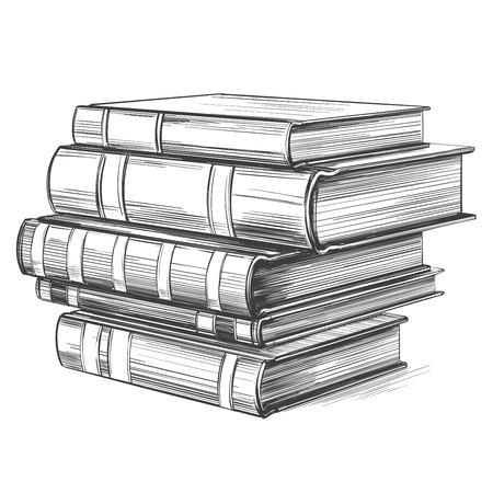 Books, education vintage set hand drawn vector illustration Vector Illustration