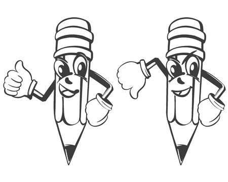 cartoon pencil expresses emotions, like and dislike set vector illustration sketch.
