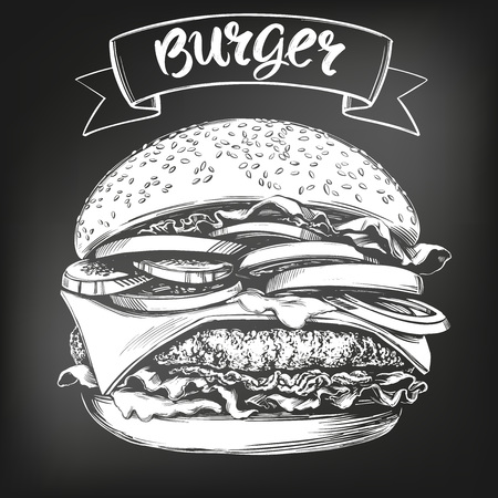 burger, hamburger hand drawn vector illustration sketch. chalk menu. retro style. Çizim