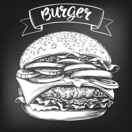 burger, hamburger hand drawn vector illustration sketch. chalk menu. retro style. Illustration