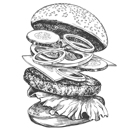 big burger, hamburger hand drawn vector illustration realistic sketch. Ilustração