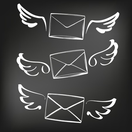 abstract wings with nvelope, letter sketch set icon collection cartoon hand drawn vector illustration sketch, drawn in chalk on a black Board