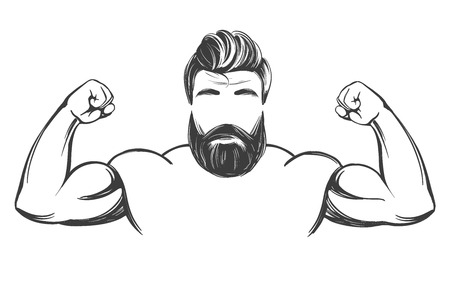 arm, bicep, strong Bearded man hand drawn vector illustration realistic sketch.