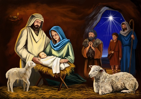 Christmas story. Christmas night, Mary, Joseph and the baby Jesus, Son of God , symbol of Christianity art illustration hand drawn painted.