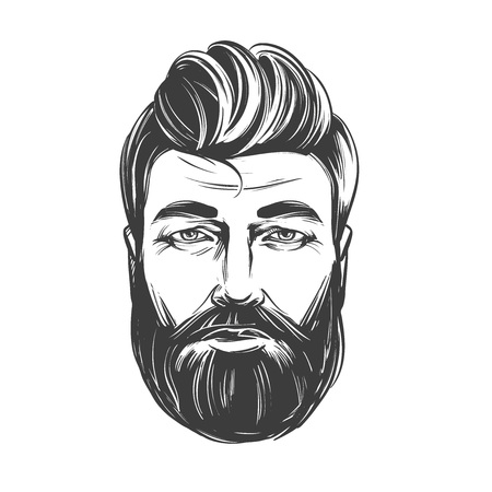 Bearded man , barbershop, hairstyle, haircut, hand drawn vector illustration realistic sketch