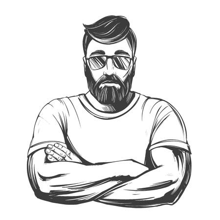 Bearded strong man hand drawn vector illustration realistic sketch. 일러스트