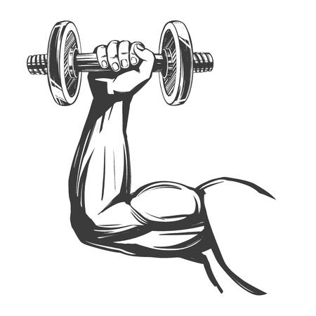 arm, bicep, strong hand holding a dumbbell, icon cartoon hand drawn vector illustration sketch.