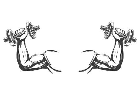 Arm, Bizeps, starke Hand, die eine Hantel hält, gezeichnete Vektorillustrationsskizze der Ikonenkarikatur Hand.