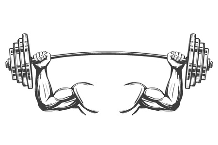 arm, bicep, strong hands holding a weight, icon cartoon hand drawn vector illustration sketch