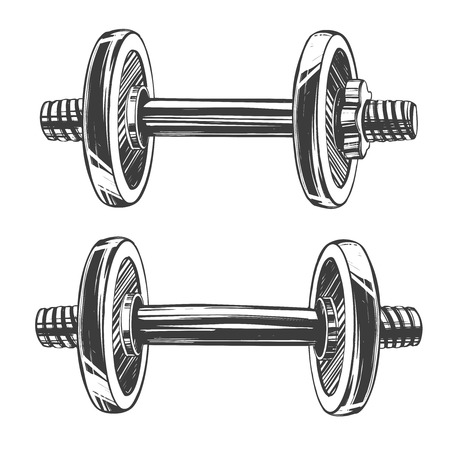 dumbbells, icon cartoon hand drawn vector illustration sketch.