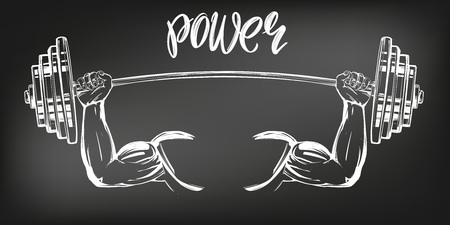 Arm, Bizeps, starke Hände, die ein Gewicht halten, Symbol Cartoon kalligraphischer Textsymbol handgezeichnete Vektorillustrationsskizze, gezeichnet mit Kreide auf einem schwarzen Brett.