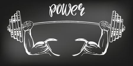 ramię, biceps, silne ręce trzymające wagę, ikona kreskówka kaligraficzny tekst symbol ręcznie rysowane wektor ilustracja szkic, rysowane kredą na czarnej tablicy.
