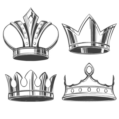 crowns, coronet, diadem, tiara, set icon hand drawn vector illustration sketch