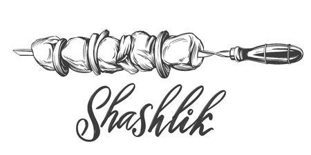 kebab, shashlik, grilled on a skewer, food meat, calligraphic text hand drawn vector illustration realistic sketch Ilustração