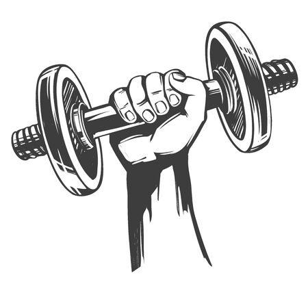 arm, strong hand holding a dumbbell, icon cartoon hand drawn vector illustration sketch
