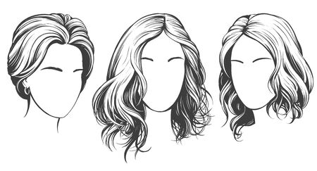 girl set, beautiful woman face hand drawn vector illustration sketch