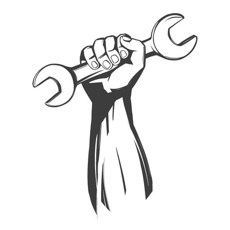 hand holding a wrench, tools icon cartoon hand drawn vector illustration sketch