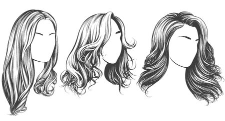 girl set, beautiful woman face, girl with beautiful hair hand drawn vector illustration sketch