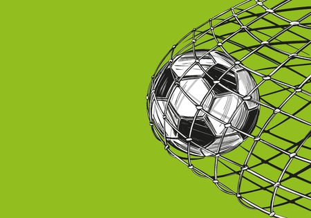 football, soccer ball, goal came in the gate, win, sports game, emblem sign, hand drawn vector illustration sketch