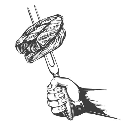 barbecue, pieces of meat on the fork holding hand, food meat, steak hand drawn vector illustration realistic sketch 일러스트