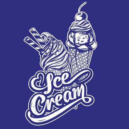 Ice cream logo, calligraphic text hand drawn vector illustration realistic sketch