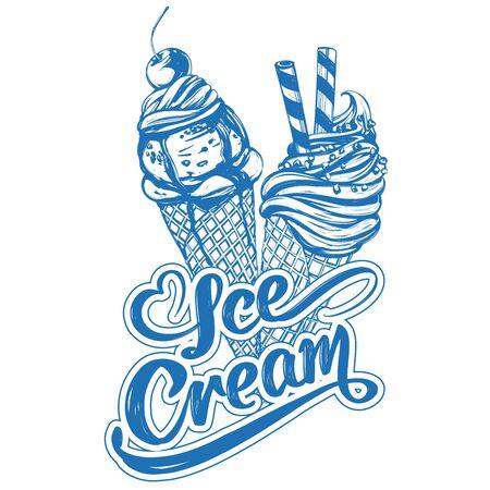 Ice cream logo, calligraphic text hand drawn vector illustration realistic sketch