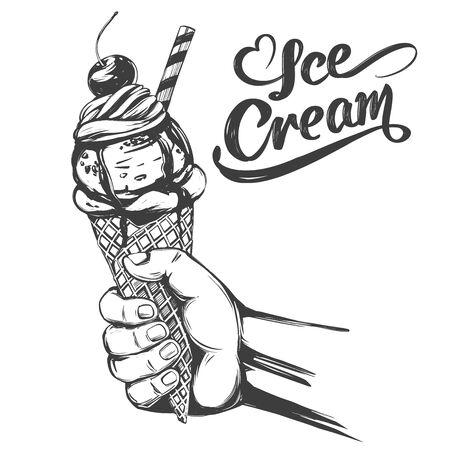 Ice cream holding hand, hand drawn vector illustration realistic sketch Иллюстрация